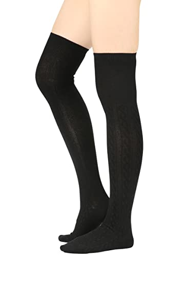710c3d7b63e Cotton Cable Knit Over the Knee High Socks (One Size   XS to M ...