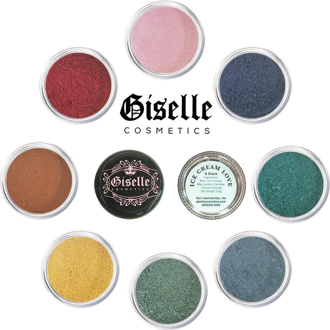 Eye Shadow - Mineral Makeup Eyeshadow Powder, Foundation, Concealer, Blush, and Contouring Palette | Pure, Non-Diluted Shimmer Mineral Make Up in 8 Lolly Pop Hues and Shades | For All Skin Giselle Cosmetics