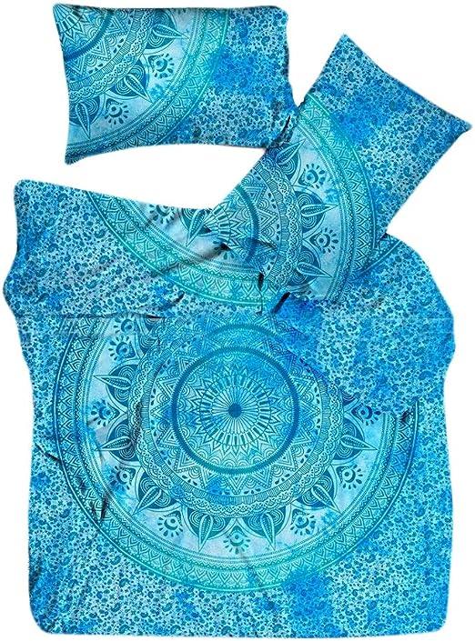 Indian Handmade King Size Mandala Cover Bed Sheet Pillow Set Bedspread Bedding