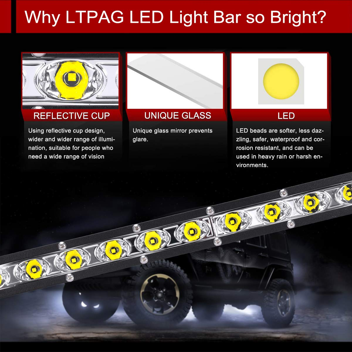 LED Arbeitsscheinwerfer LTPAG 25 Zoll 72W Zusatzscheinwerfer Bar 6000K Wei/ß IP68 Wasserdicht Offroad Scheinwerfer Arbeitslicht mit 24 LEDs 9V-30V