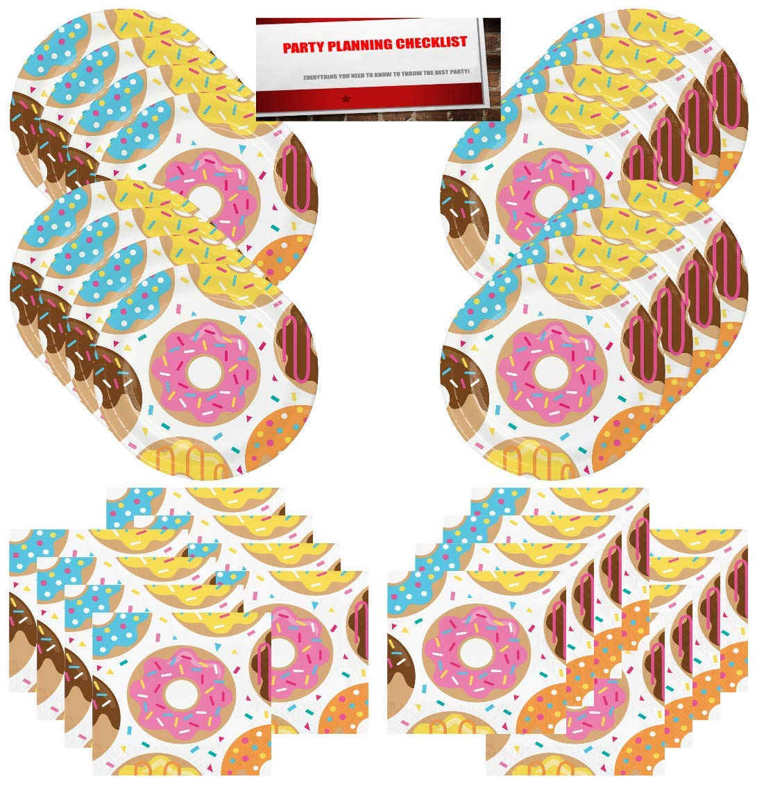 Plus Party Planning Checklist by Mikes Super Store Donut Party Supplies Bundle Pack for 16 Guests