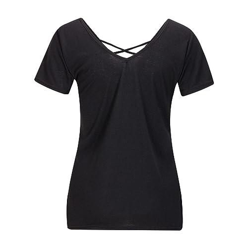 Beauty7 Camisas Mujeres Ventaje Cruz V Cuello Manga Corta Camisetas Respirable Blusas Casual T-Shirt...