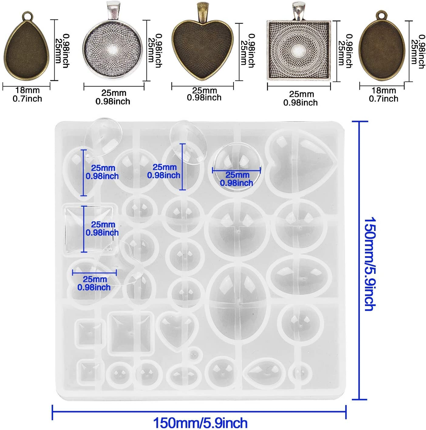 KisSealed 30 Pieces 5 Styles Pendant Trays-Round /& Square /& Heart /& Teardrop /& Oval and 1 Pcs Silicone Resin Jewelry Casting Molds for Pendant Crafting DIY Jewelry Gift Making