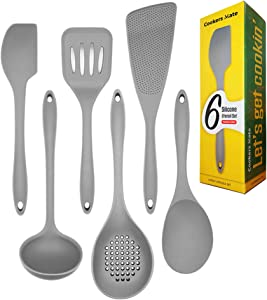 Cookers Mate Silicone Kitchen Cooking Utensil Set with Spatula - 6 Piece Non-Stick Heat Resistant Cookware, Large Premium Designed Tools Including Spoon, Turner and Ladle (Gray)