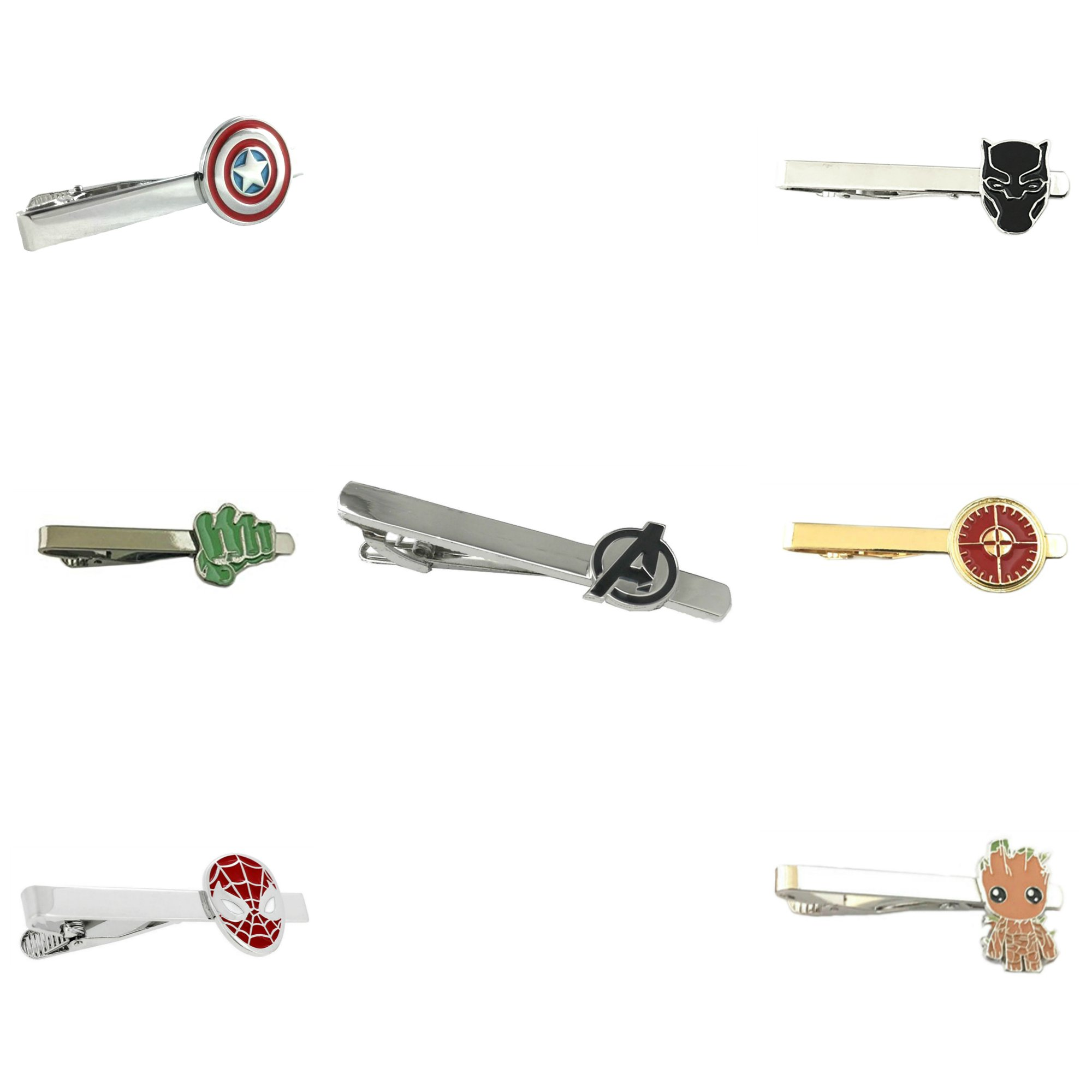 Outlander Marvel Comics - Assortment Avengers Infinity War - Tiebar Tie Clasp Set of 7 Wedding Superhero Logo w/Gift Box