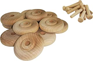 "product image for Wood Wheels - 12 Pack with Free Axle Pegs - Made in USA (1.25"" Diameter)"