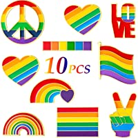 10 Pieces Rainbow Brooch Pins Pride Heart Flag Label Pins for Clothes Bag Decoration
