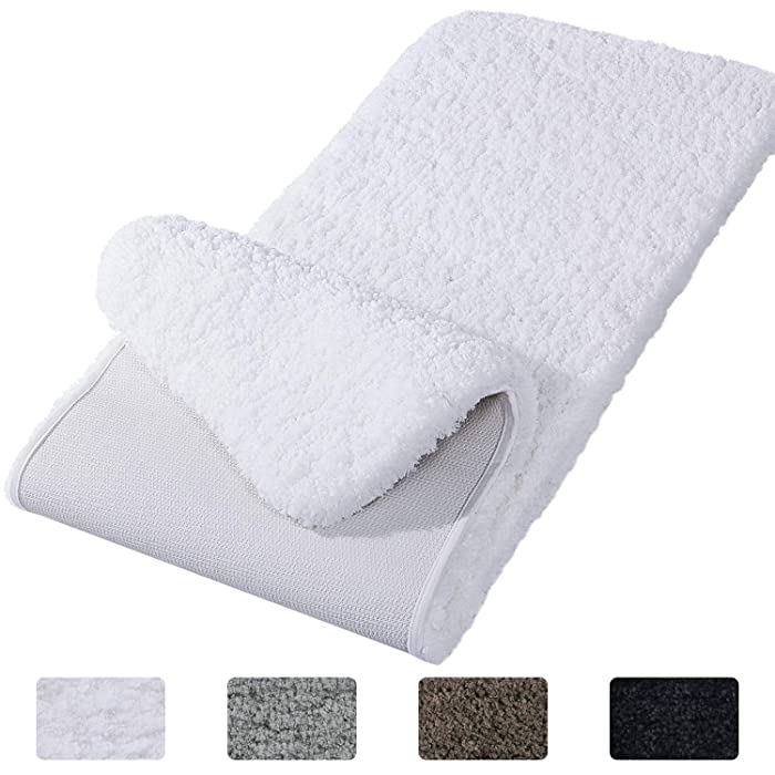 "Lifewit Bathroom Rug Bath Mat Non-Slip Rubber Microfiber Soft Water Absorbent Thick Shaggy Floor Mats, Machine Washable, White,59""x20"""