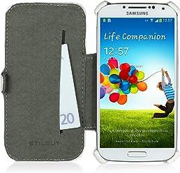 StilGut Custodia esclusiva Slimcase in similpelle con scomparto carte di credito per Samsung Galaxy S4 i9500 e i9505 - bianco