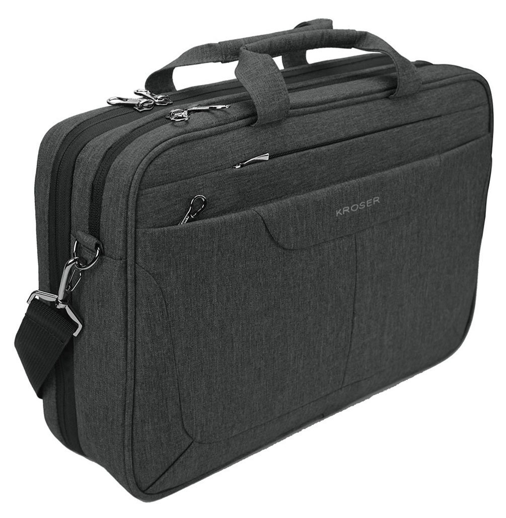 KROSER Laptop Bag 15.6 inch Briefcase Laptop Messenger Bag Water Repellent Computer Case Tablet Sleeve with RFID Pockets for College/School/Business/Women/Men-Charcoal Black
