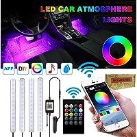 Holahoney Interior Car LED Strip Light Upgrade Waterproof 4pcs 48 LED Bluetooth APP Controller Lighting Kits, Multi DIY Color Music Under Dash Car Lighting with Car Charger, DC 12V