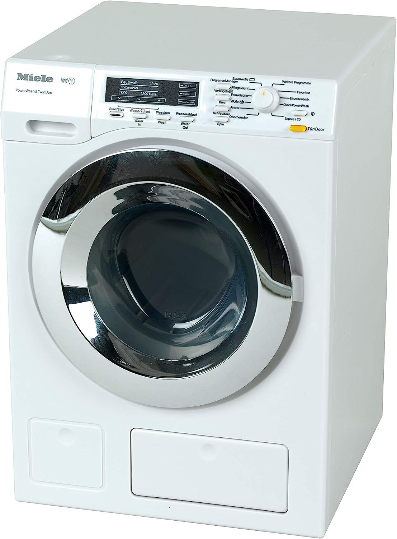 Theo Klein 6941 Lavadora Miele, Cuatro programas de lavado y sonido original, Funcionamiento con y sin agua, Medidas: 18.5 cm x 26 cm x 18 cm, Juguete para niños a partir de 3 años