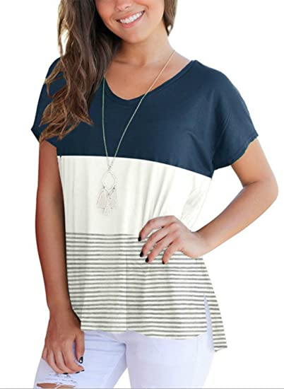 0cbbc53df39 Artfish Women s Summer Short Sleeve Striped Blouse Junior Casual Tunic Tops  T-Shirt at Amazon Women s Clothing store