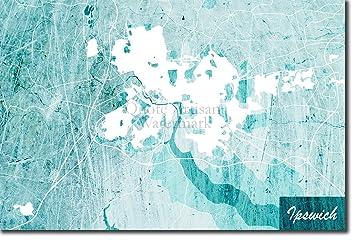 Ipswich Uk Map.Amazon Com Best Quality Prints Ipswich England United Kingdom Uk