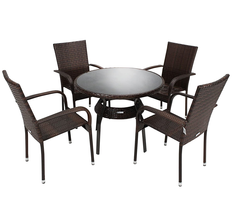 Bentley Garden - Sitzgarnitur - 1 runder Tisch & 4 Stühle - PE-Rattan - Dunkelbraun