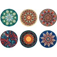 Coloranimal Absorbent Ceramic Stone Coasters 6 Piece Set for Drinks Tableware Decor