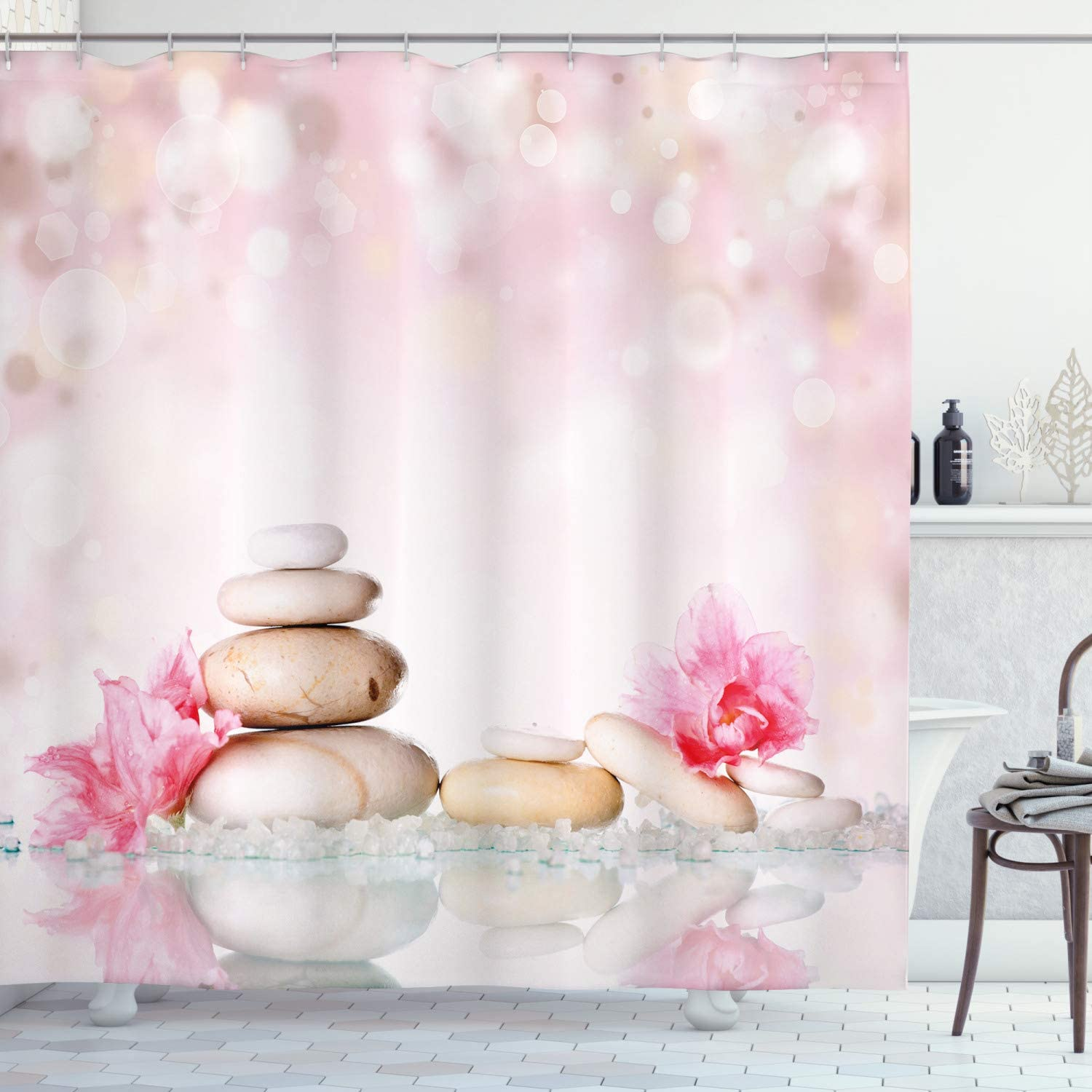 Ambesonne Spa Shower Curtain, Bohemian Zen Stones and Soft Petals Therapy Tradition Chakra Yoga Asian Picture, Fabric Bathroom Decor Set with Hooks, 75 Inches Long, Light Pink Peach