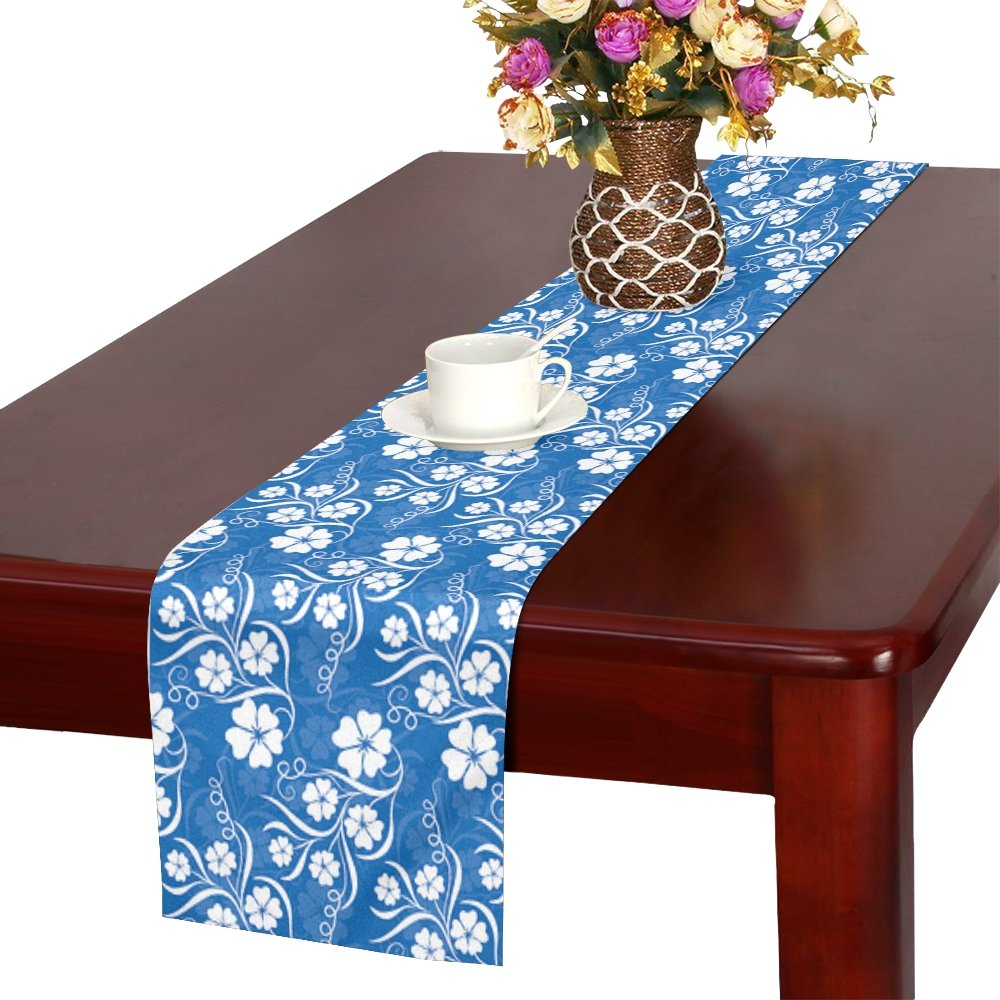 Blue Colors Flower Table Runner, Kitchen Dining Table Runner 16 X 72 Inch For Dinner Parties, Events, Decor