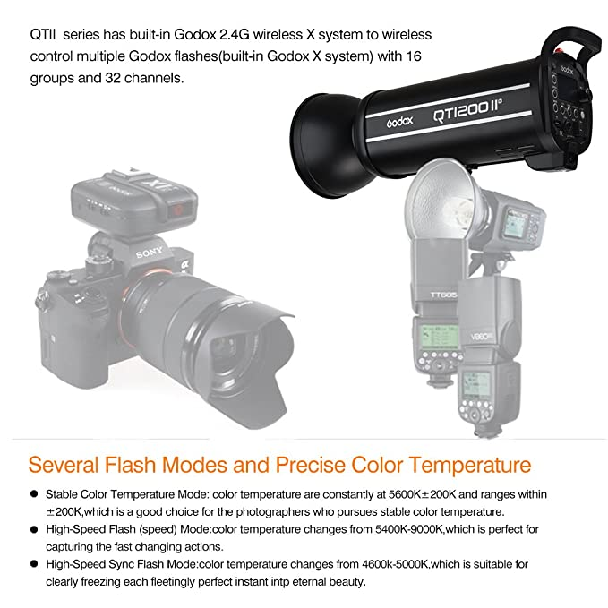Amazon com : Godox QT1200IIM 1200WS GN102 1/8000s HSS Studio