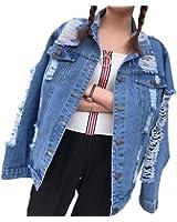 Frayed Holes Denim Jacket Women NEW Streetwear Casual Jaqueta Feminina Bf Style Long Sleeve Coat Female