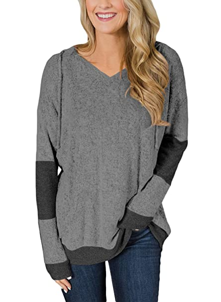 Neck Fleece Casual Tops Hoodie Block Color Women Pullover Itsmode Heather Fuzzy Sleeve Drawstring Long V AZBXqWUwP