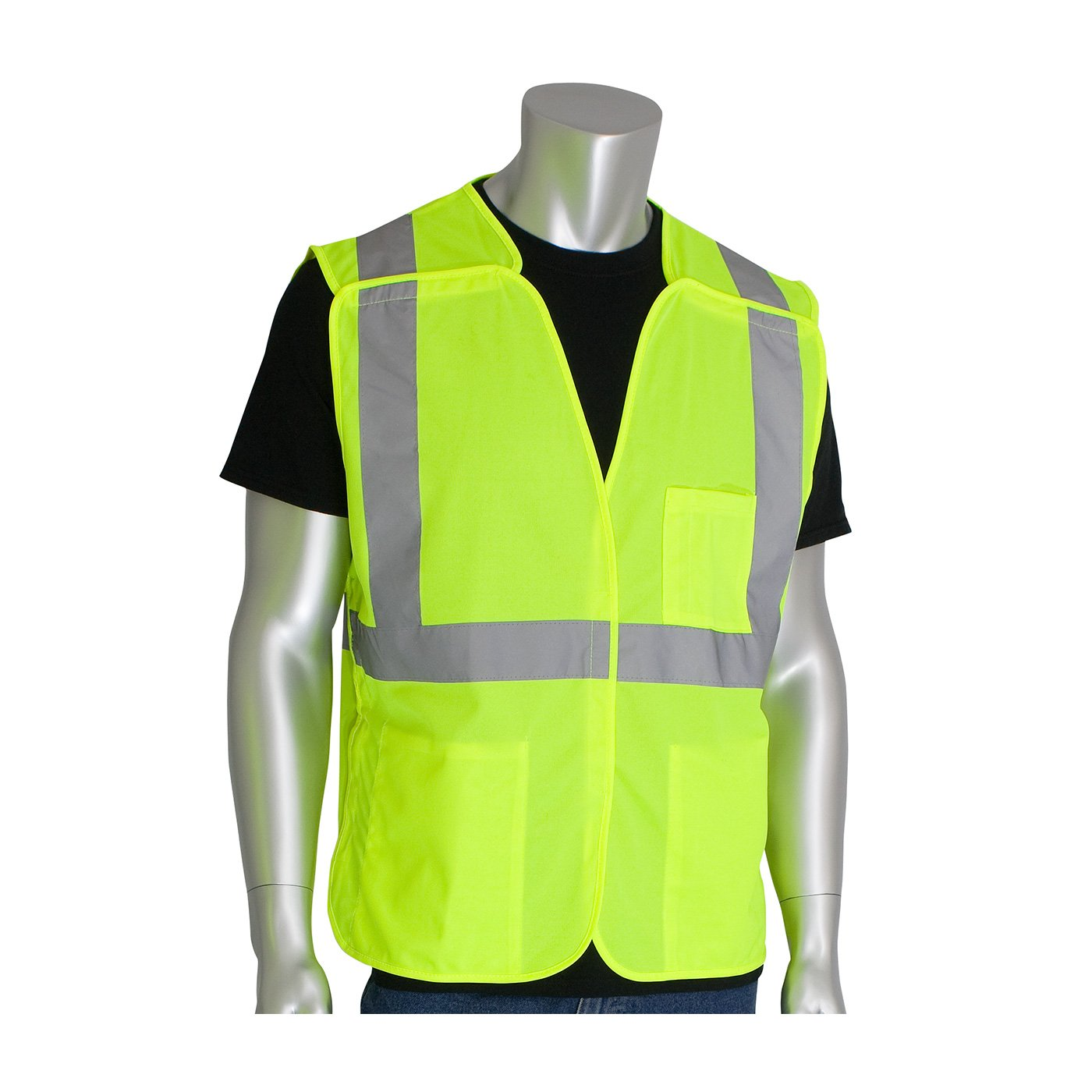 Ideal for construction and anywhere hi-visibility apparel is necessary Breathable polyester mesh Pack of 5 Designed to ANSI 2015 standards Breakaway provides additional safety around extr Worktex Safety WT56004 Safety Vest shipyards municipalities