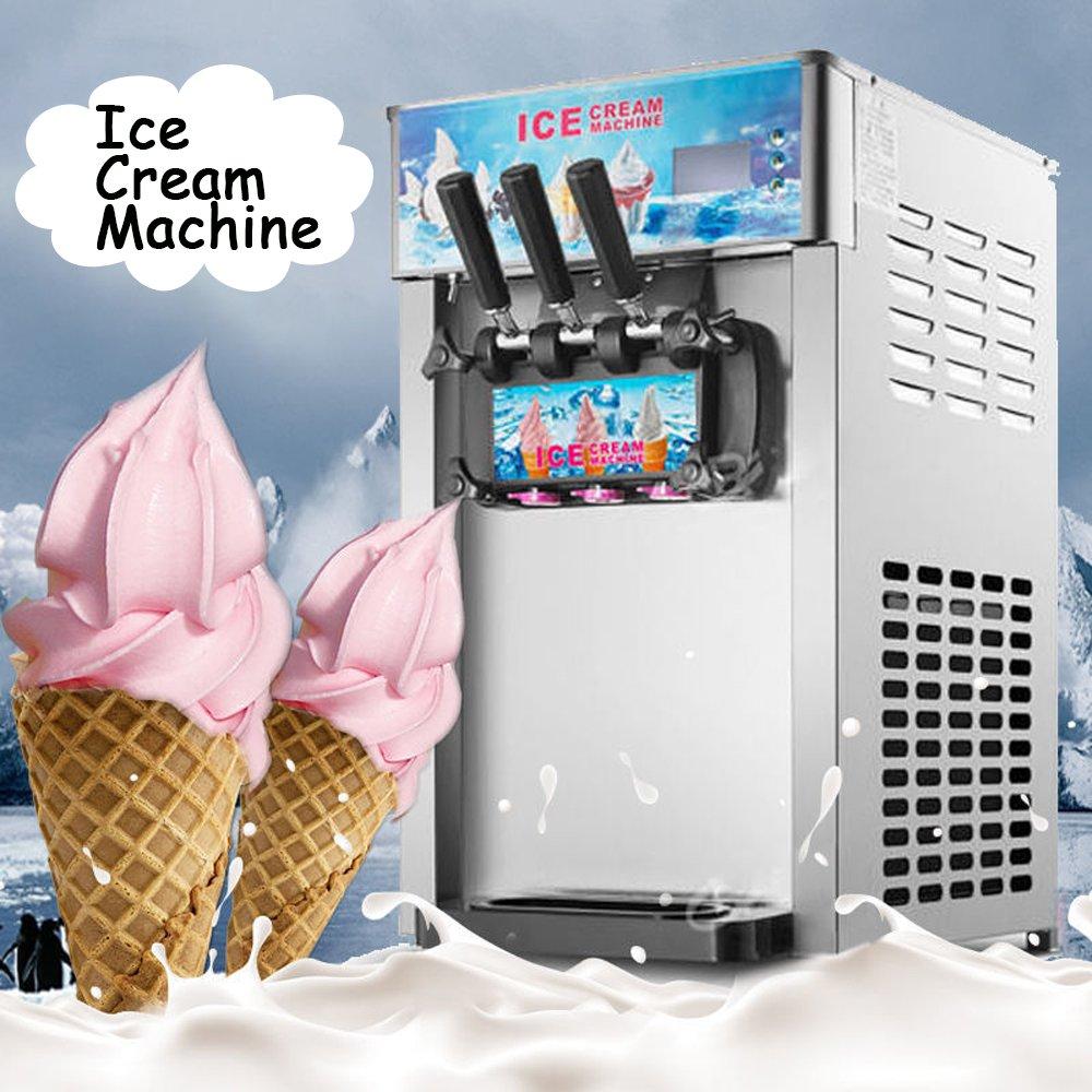 Ice Cream Maker, Denshine Ice Cream Machine Commercial Desktop Soft Ice Cream Making Machine 18L/Hour 3 Flavors Ice Cream Machine (Gray)