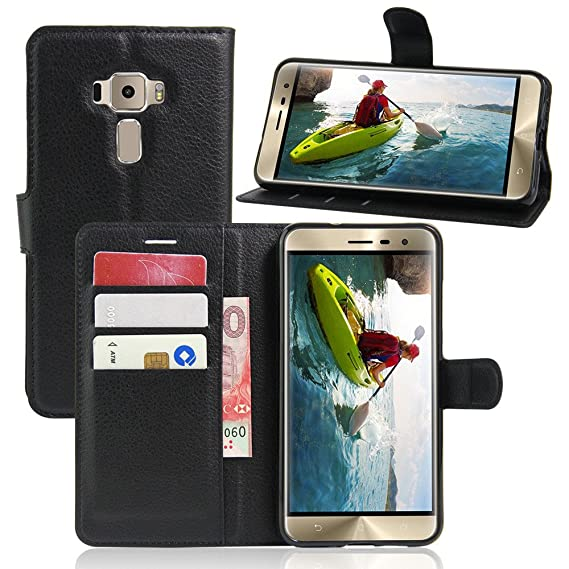 Excelsior Premium Leather Wallet Flip Cover Case For Asus ZenFone 3 Deluxe ZS570KL  5.7 Inch    Black Mobile Phone Cases   Covers