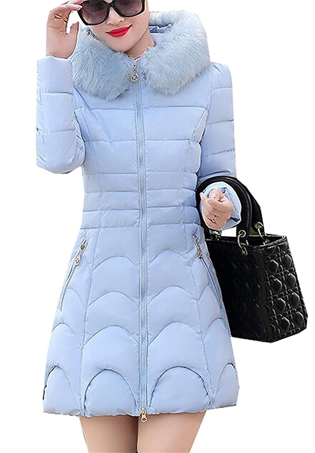 Pilusooou Women's Quilted Down Outerwear Coat with Faux Fur Trim Hood
