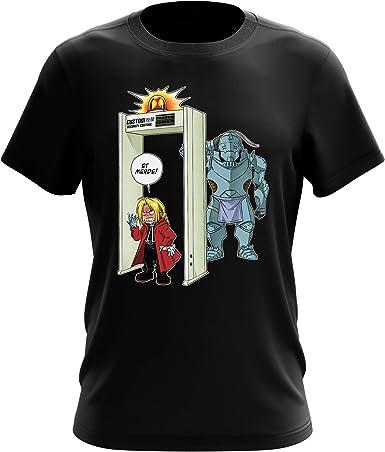 Okiwoki - Camiseta de metal con diseño de FMA paródica Edward y Alphonse Elric con detector de metales, color negro (Parodie Full Metal Alchemist - FMA) Negro XXXXXL: Amazon.es: Ropa y accesorios
