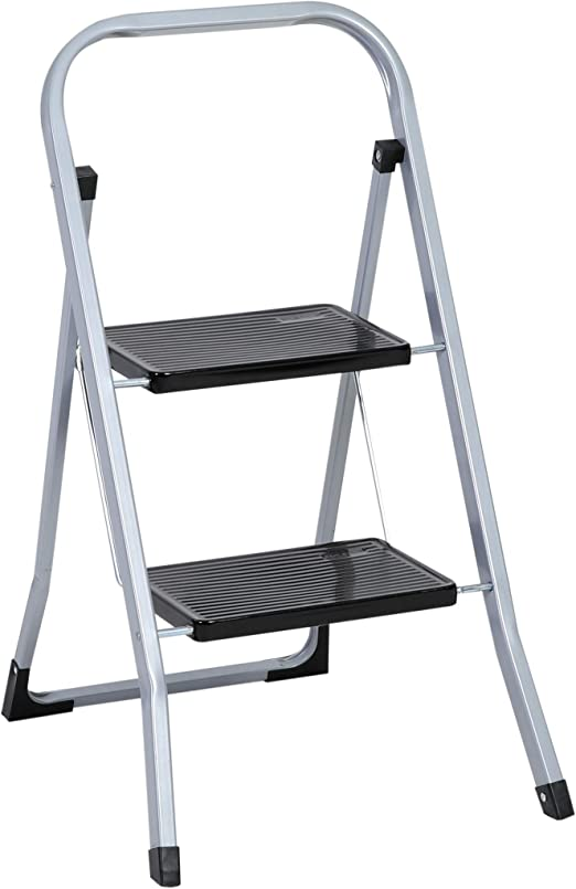 Trittleiter 2 Stufen Klappbar Stahl Klappstufen Haushaltsleiter Klapptritt Stufenleiter platzsparend bis 150 kg belastbar 2-Stufen-Trittleiter