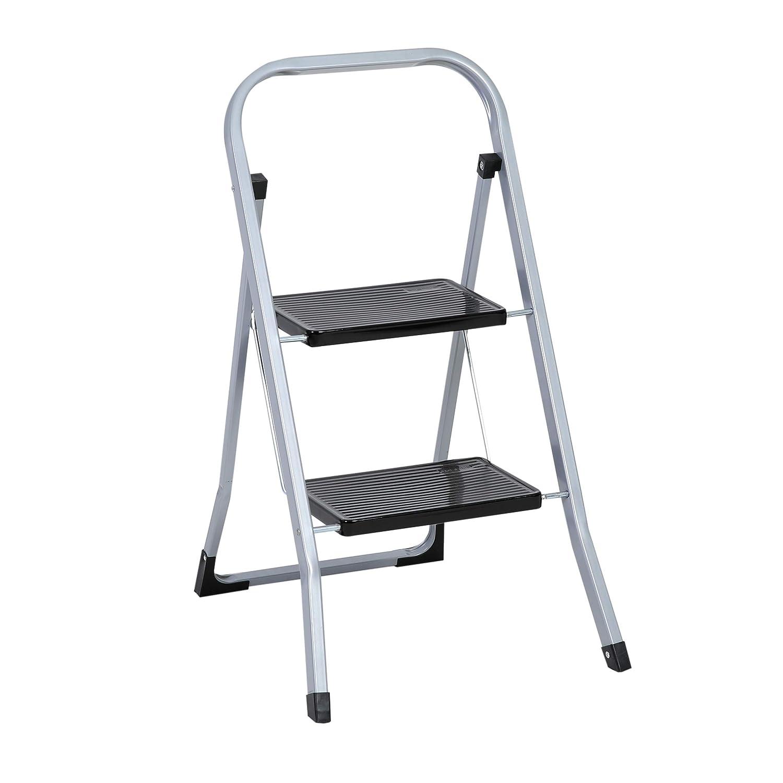 Klapptreppe bis 150 kg silberfarben // schwarz Klapptritt aus Metall mit Halteb/ügel und gro/ßen Stufen axentia Trittleiter 2 Stufen klappbar