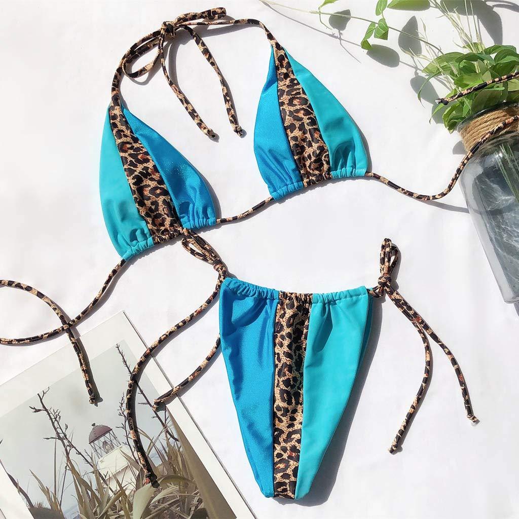 TwoCC Estampado De Leopardo con Estampado De Leopardo Y Estampado De Leopardo para Mujer Corbata Lateral De Dos Piezas Bikini Traje De Ba/ño Traje De Ba/ño