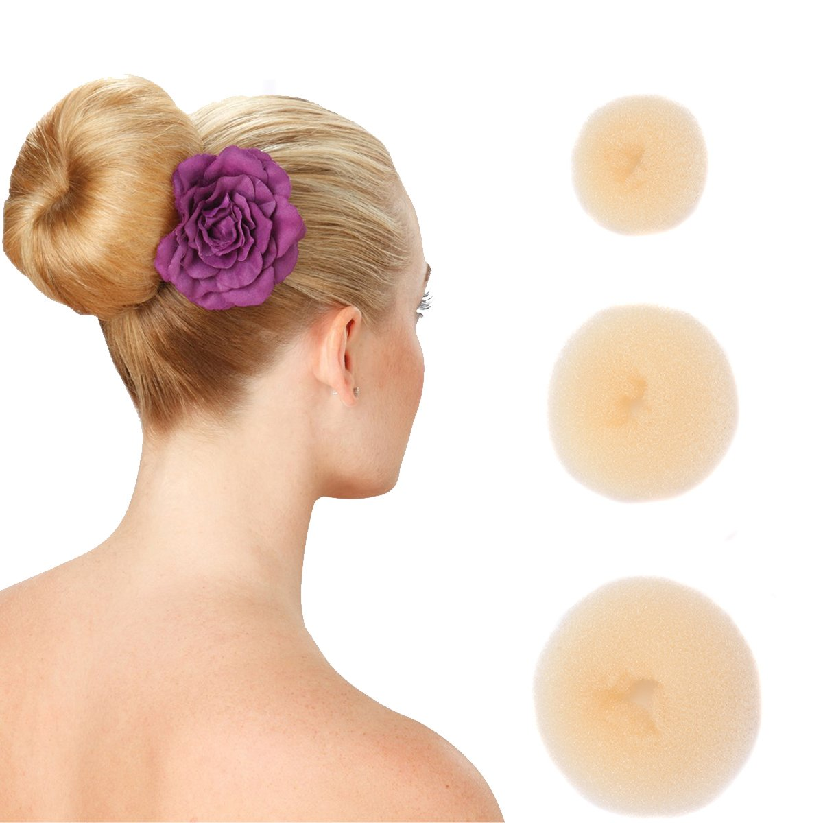 Hair Dount Bun Maker Ring Style Dounghnut Shaper Chignon Former for Creating Updo Pack of 3 Pieces(1Large+1Middle+1Samll) Beige BHF