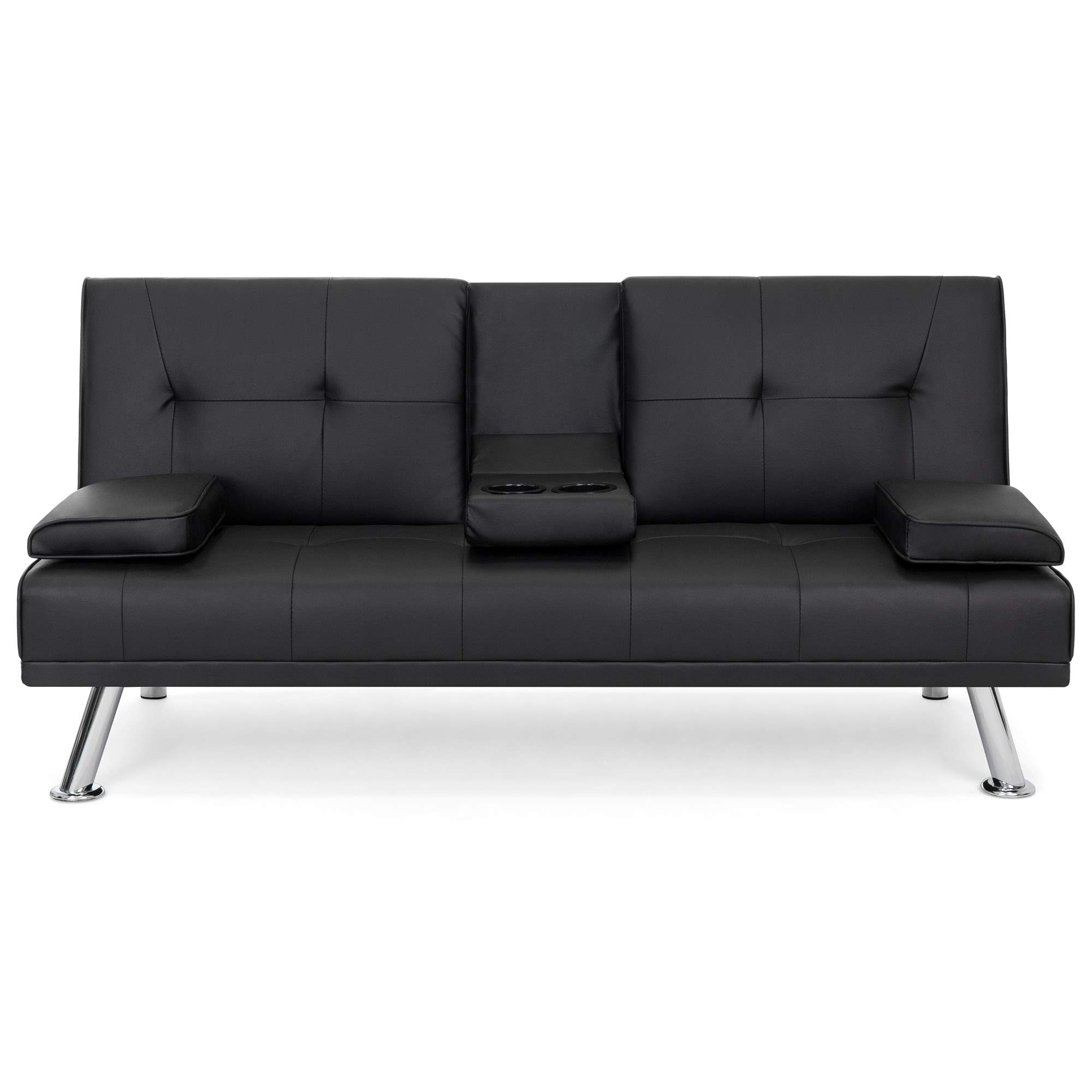 Best Choice Products Modern Faux Leather Futon Sofa Bed Fold Up & Down Recliner Couch with Cup Holders - Black by Best Choice Products