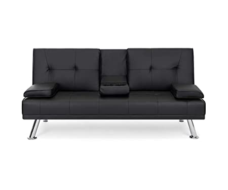 Best Choice Products Modern Faux Leather Futon Sofa Bed