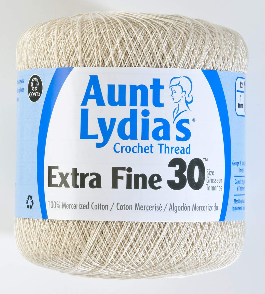Amazon.com: Coats Crochet Aunt Lydia's Crochet, Cotton Extra Fine Size 30,  White: Arts, Crafts & Sewing