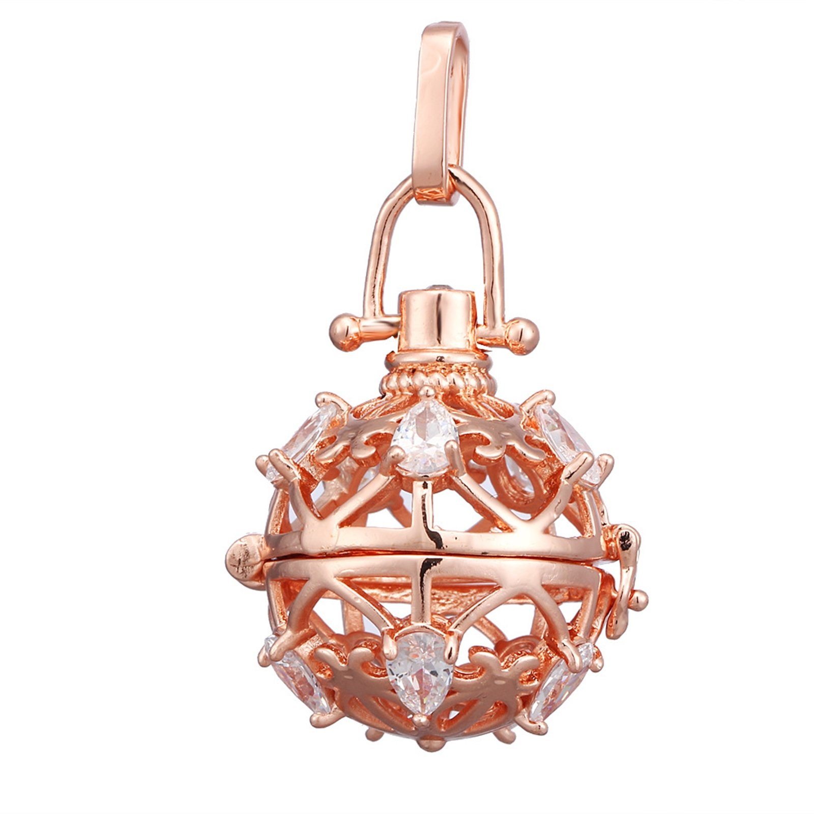 Beydodo Rose Gold Diffuser Necklace for Women Hollow Round Heart Pear Cut Cubic Zirconia