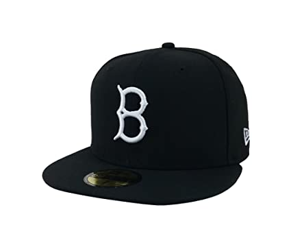 f84327ed059 New Era 59Fifty Hat Brooklyn Dodgers MLB Black White Fitted Headwear Cap (6  3