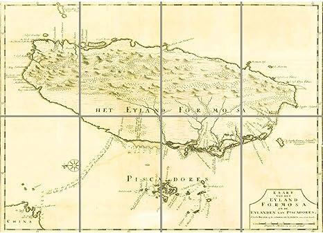 Vintage Map of Taiwan 1763 Vintage Poster Wall Art Print
