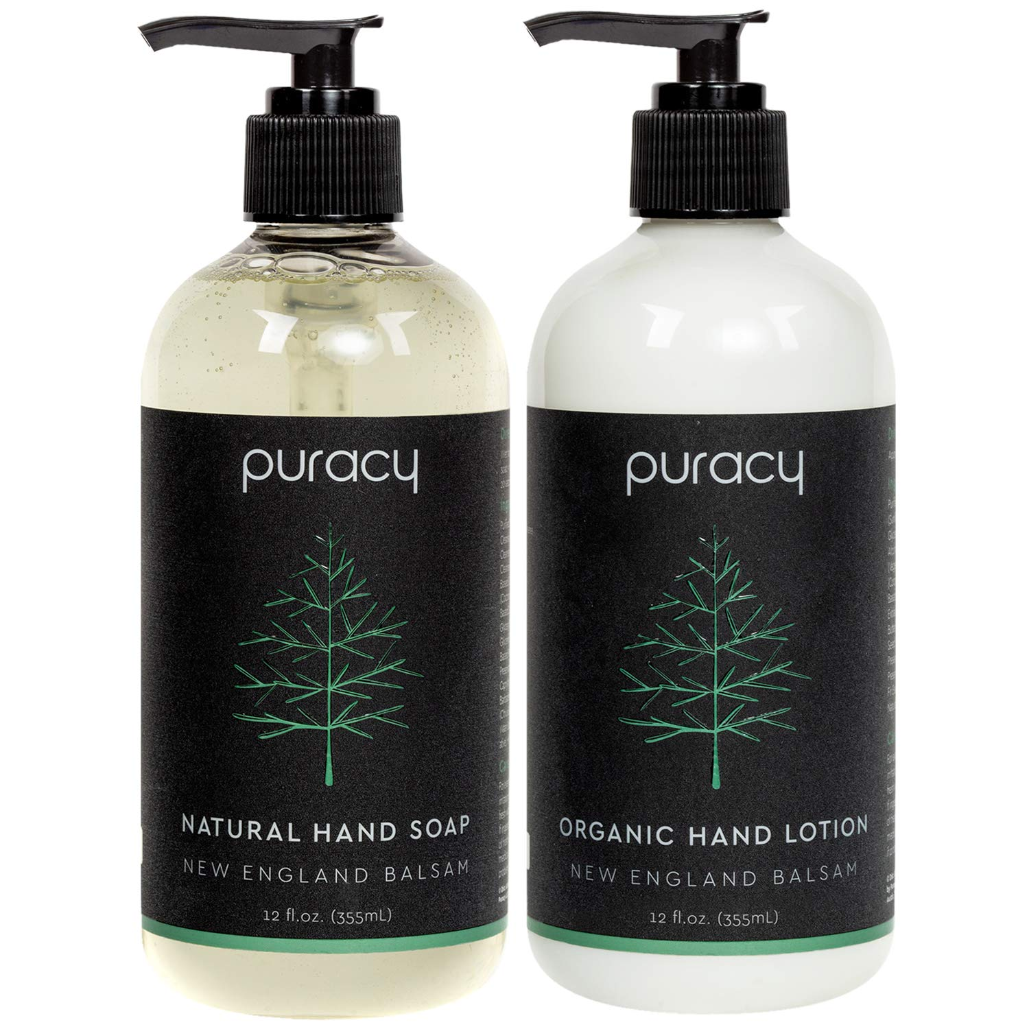 Puracy Hand Soap & Lotion Set, Balsam Fir, Natural & Organic Fraser Pine Aromas, 12-Ounce (2-Pack)
