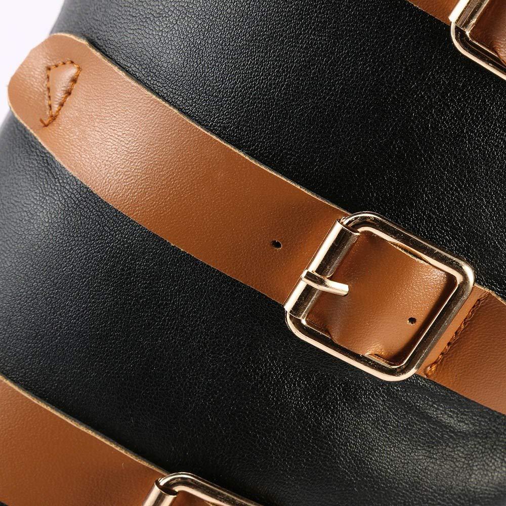 HhGold Stiefel Damen Damen Damen Schuhe Damenstiefel Mode Frauen Mode Leder Vintage Knie Stiefel Starke Ferse Flache Schnee Freizeitschuhe Winterstiefel Turnschuhe Stiefel (Farbe   Schwarz, Größe   38 EU) d347f2