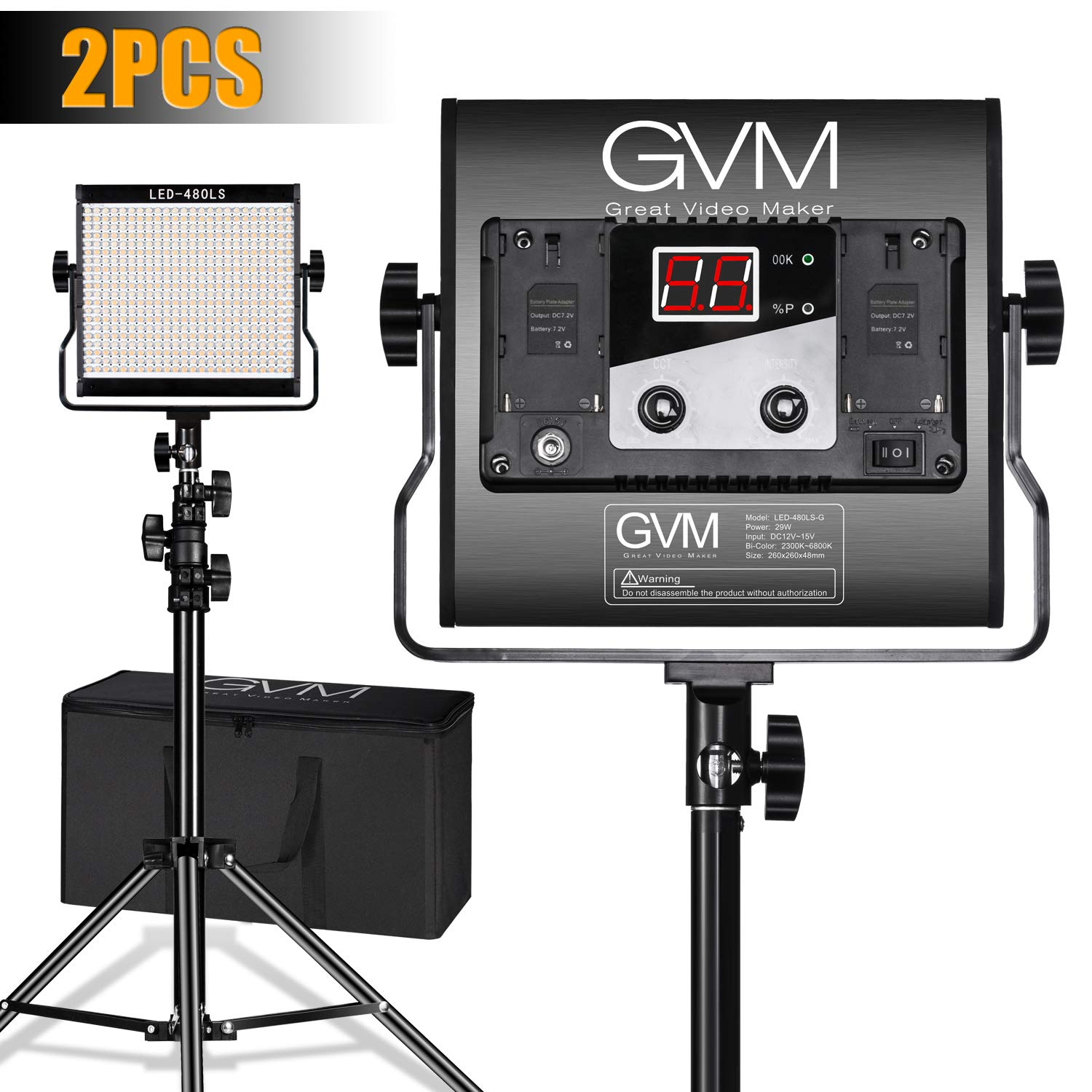 LED Video Lighting Kits,GVM 480LS 2 Pack Video Light with APP Control CRI97+ TLCI97 Bi-Color  10~100% for Video Photography, Led Video Light Panel +Barndoor by GVM Great Video Maker
