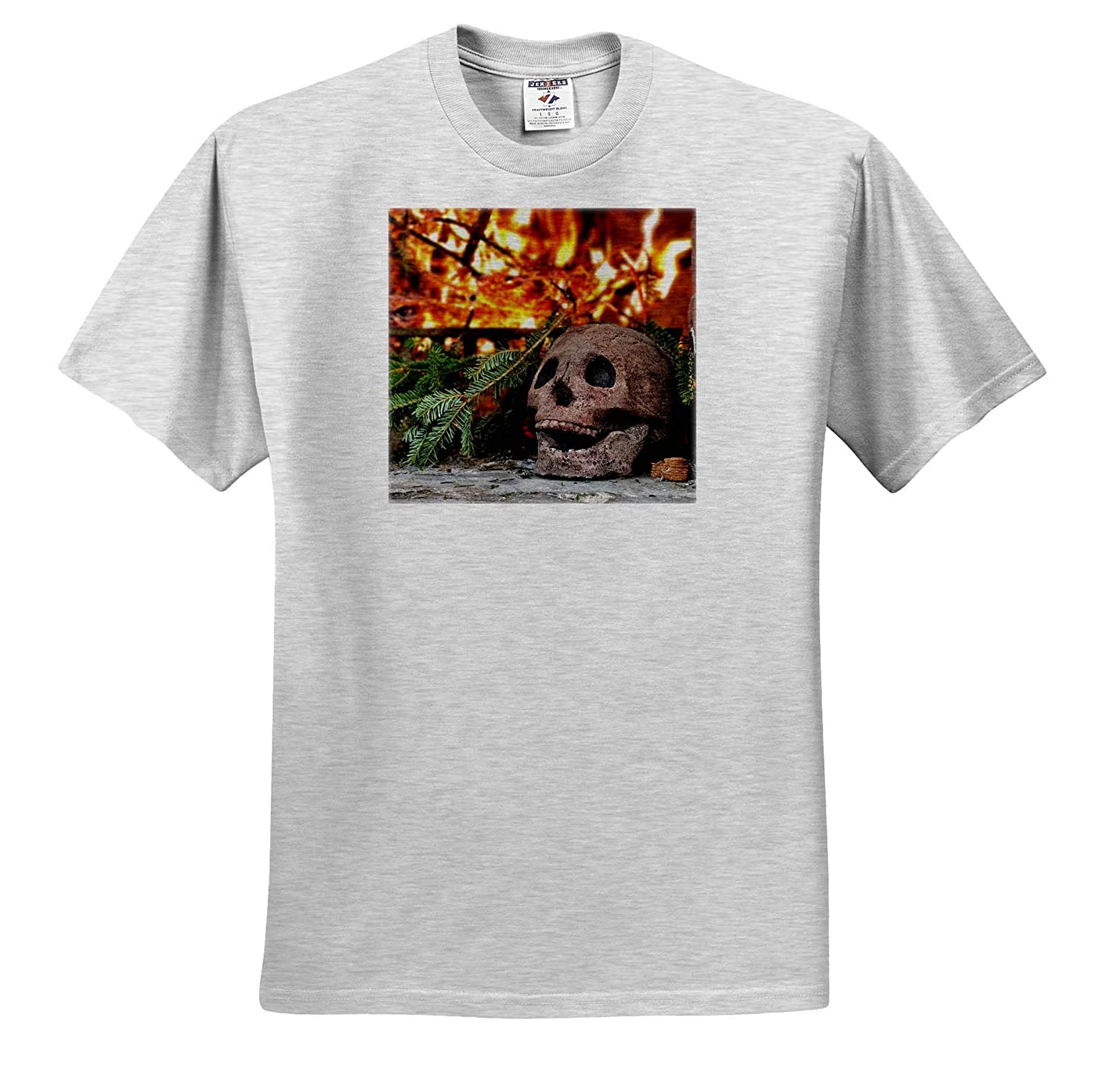 - T-Shirts 3dRose Stamp City Miscellaneous Photo of Outdoor Fireplace with Skull fire Starter and Pine Branches