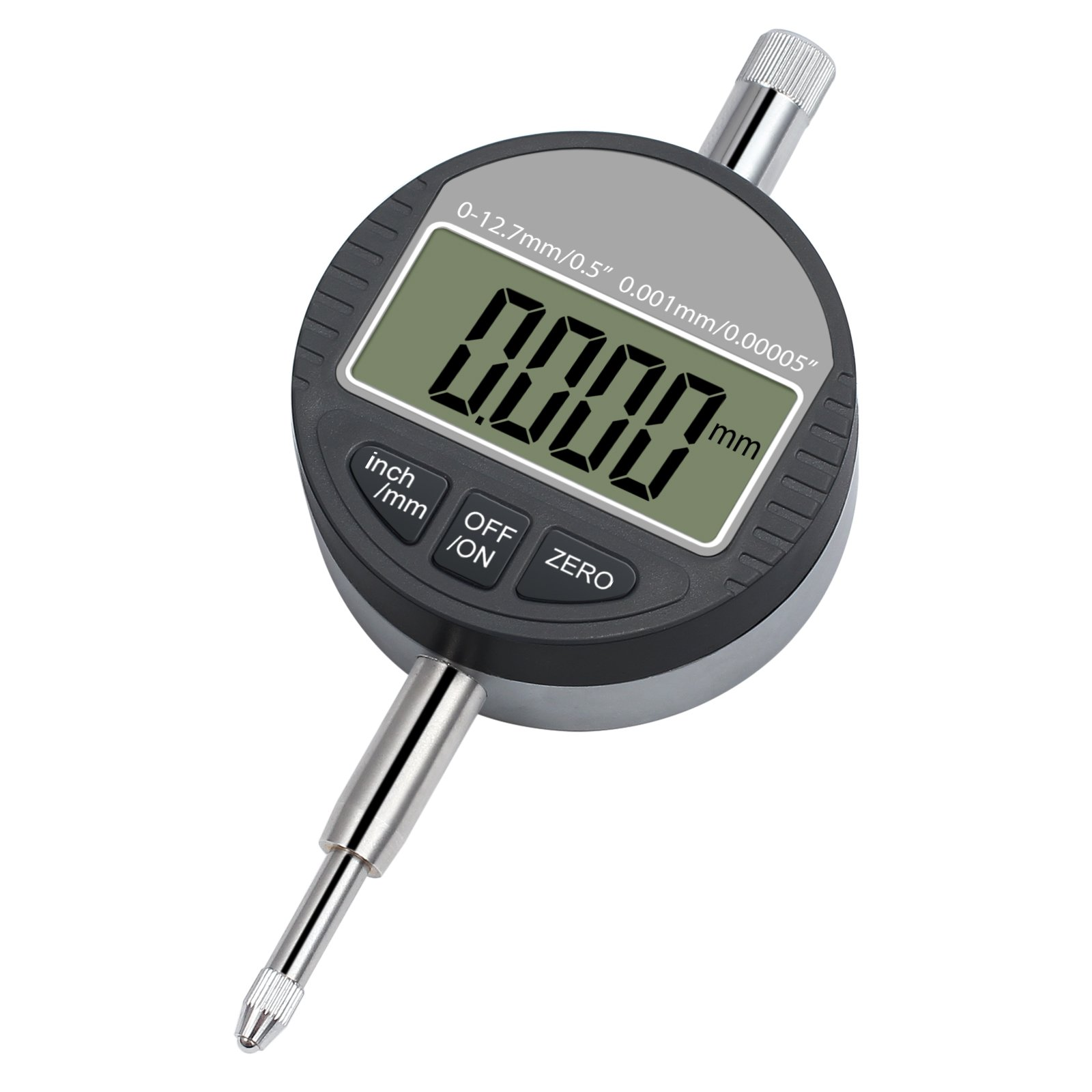 CAMWAY DTI Digital Dial Indicator 0.001/0.00005'' Digital Probe Indicator Dial Test Gauge Range 0-12.7mm/0.5'' Dial Test Indicators Electronic Indicator Gauge with Rear Cover