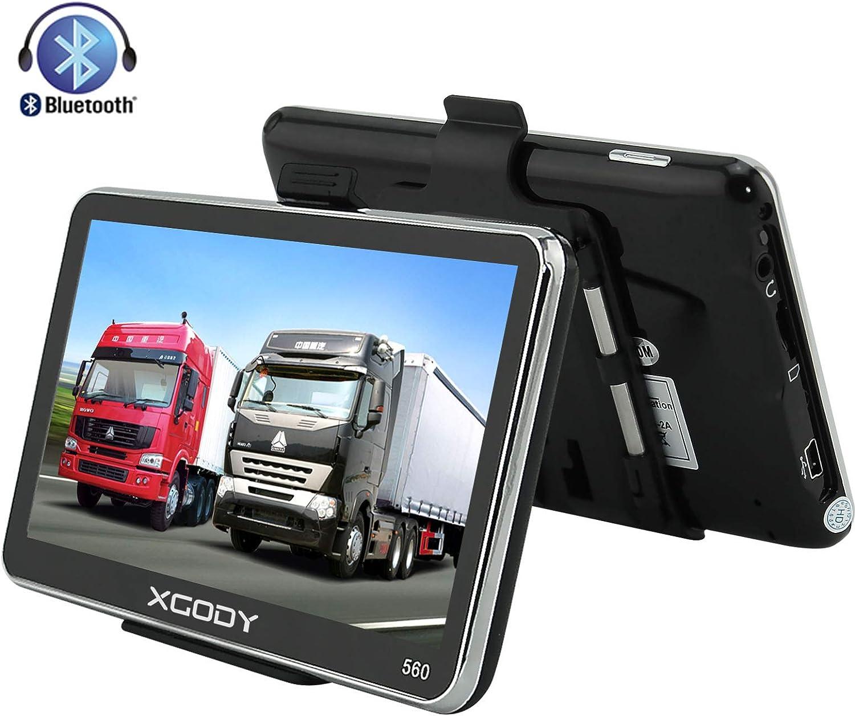 Xgody 560 - Navegador portátil para Coche con Bluetooth, GPS de 5 Pulgadas, Pantalla táctil de 8 GB, 128 MB, RAM FM, MP3, MP4, navegador de Mapa de por Vida, con Parasol (560BT+SC)