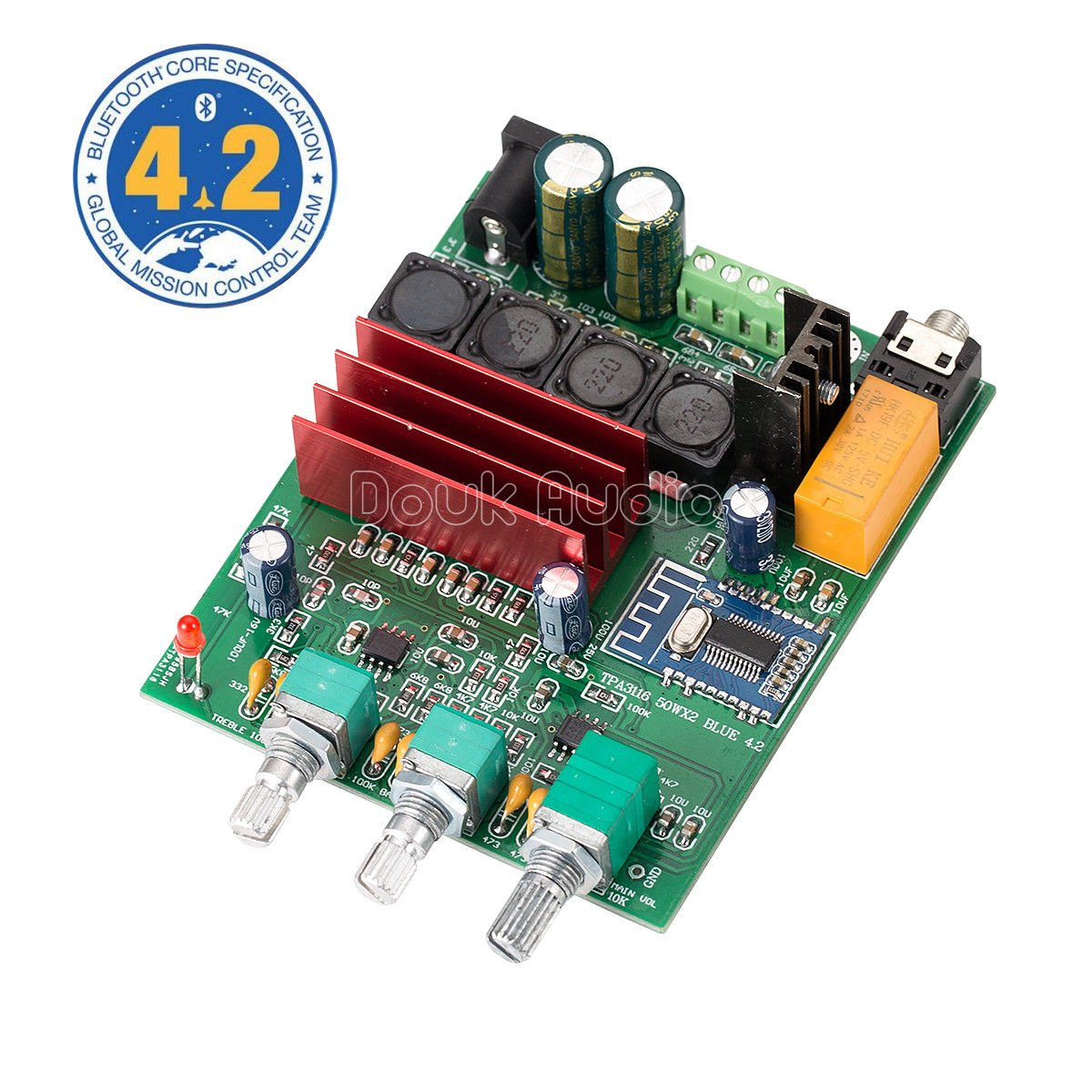 Nobsound 100W Bluetooth 4.2 TPA3116D2 2.0 Channel Digital Power Amplifier Board Stereo Amp Home Speaker Car Audio Treble Bass Tone Control (DP3)