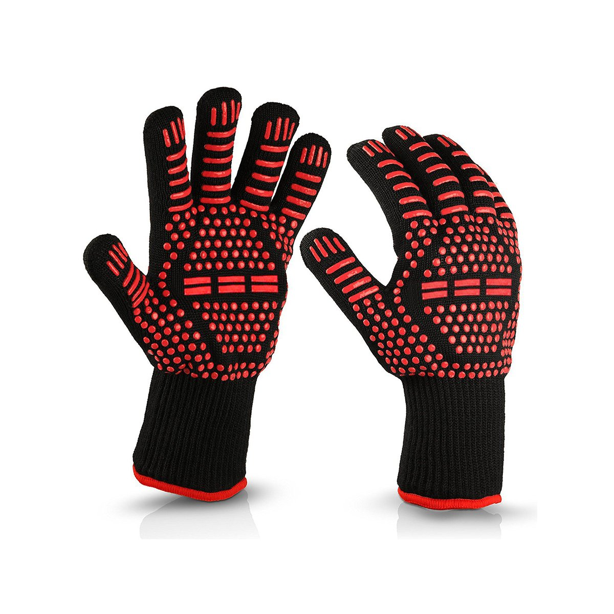 Yummy&Yummy Oven Gloves Heat Resistant Cooking Mitts-BBQ Grilling - Fireplace Accessories and Welding,Cut Resistant and Forearm Protection with 500°C High Performance Heat Resistance 1 pair