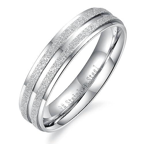 COPAUL Acero inoxidable esmerilado Superficie Pareja alianzas de boda, anillos de compromiso de plata: Amazon.es: Joyería