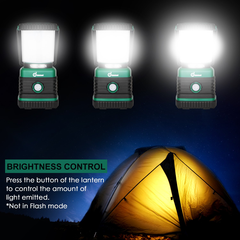 Odoland Ultra Bright 1000 Lumen Camping Lantern with Brightness Adjustment, Battery Powered LED Lantern of 4 Light Modes, Best for Camping, Hiking, Fishing & Emergency by Odoland (Image #4)